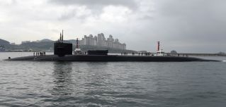In this handout photo provided by the U.S. Navy, the guided-missile submarine USS Michigan arrives on April 25, 2017, in Busan, South Korea.