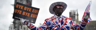 This photo shows Brexit supporter Joseph Afrane dressed up in London's Parliament Square to celebrate the impending departure of the United Kingdom from the European Union on Jan. 31.