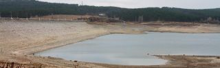 Aphoto shows one of the shallow water reservoirs in Simferopol, Crimea.