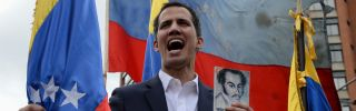 Juan Guaido, leader of Venezuela's opposition-controlled National Assembly, declares himself interim president during a rally in Caracas against President Nicolas Maduro on Jan. 23, 2019.