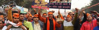 Supporters of the Vishva Hindu Parishad, a Hindu nationalist organization, attend a religious congregation organized by the group in New Delhi on Dec. 9, 2018.