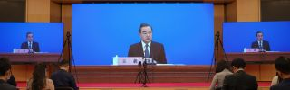 Chinese Foreign Minister Wang Yi answers questions during a video press conference on May 24, 2020, in Beijing, China.