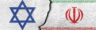 An illustration shows the flags of Israel and Iran painted on a cracked wall.