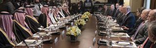 U.S. President Donald Trump leads a U.S. delegation at a working lunch with Saudi Crown Prince Mohammed bin Salman and his aides.