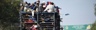 A Central American migrant caravan on Nov. 11, 2018, passes through the Mexican state of Guanajuato on its way to the United States.