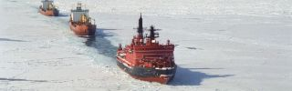 The Yamal, a Russian nuclear-powered icebreaker, clears the way in the Kara Sea.