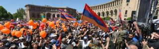 Protesters attend a rally in support of opposition leader Nikol Pashinyan in the Armenian capital of Yerevan on May 1.