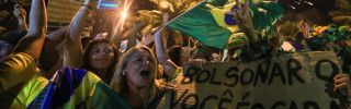 Brazilian supporters of populist candidate Jair Bolsonaro celebrate his presidential victory on Oct. 28.