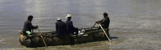 Tibetans row along the Brahmaputra River, which has recently been the subject of dispute between China and India.