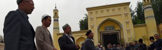 This April 19, 2015, photo shows Uighur men gathering for afternoon prayers at the Id Kah Mosque in Kashgar, Xinjiang. China's crackdown on Uighur Muslims in Xinjiang could result in U.S. sanctions.