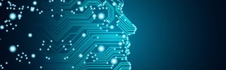 Machine learning and cyber mind domination concept in form of men face outline outline with circuit board and binary data flow on blue background.