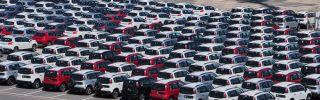 New Peugeot and Citroen cars await shipment on the pier in Rio de Janeiro, Brazil, in February 2017.