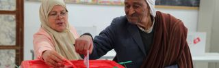 In this photograph, a Tunisian man casts his vote at a polling station during local elections in Kasserine in central Tunisia on May 6, 2018.