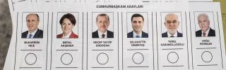 A paper ballot includes portraits of the candidates in Turkey's upcoming presidential election, scheduled for June 24.