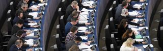 EU lawmakers take part in a voting session at the European Parliament in Strasbourg, France.