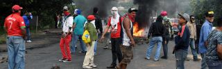 In Honduras, supporters of the opposition coalition, whose candidate narrowly lost the presidential election in December, set up a roadblock in Tegucigalpa.