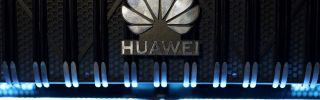 The Huawei logo is pictured on a router during a 5G event in London on Feb. 20, 2020.