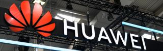The Huawei logo, on display at the annual Hanover industrial fair in Germany, April 1-5, 2019.