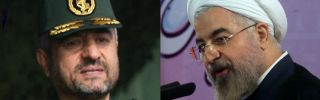 (L) Head of Iran's elite Islamic Revolutionary Guard Corps, Gen. Mohammad Ali Jafari, appears at a gathering in Tehran on Nov. 26, 2007. (R) Iranian President Hassan Rouhani speaks during a press conference in Tehran on June 14, 2014.