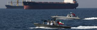 An armed Iranian speedboat in the Strait of Hormuz on April 30, 2019.