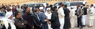 Libyan tribal leaders welcome visitors.