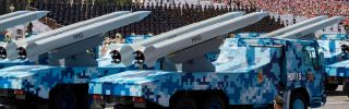 Chinese missiles loaded onto trucks in Tiananmen Square during a military parade Sept. 3 in Beijing.