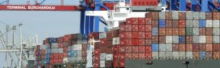 Containers are loaded onto a ship in 2010 at Hamburg port in northern Germany.