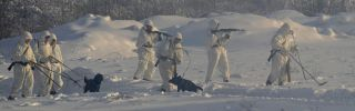Elements from the Russian Army's Guards Engineer Brigade and Engineer Camouflage Regiment train in Arctic conditions, . Melting ice has opened up new transit routes and revealed to Moscow a lucrative prize along its vast northern frontage: the Arctic Circle.