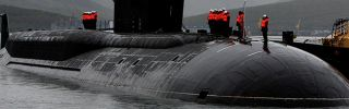 A Borei-class Russian submarine like the Alexander Nevsky (pictured) will be used to fire a new type of submarine-launched ballistic missile in an upcoming test.