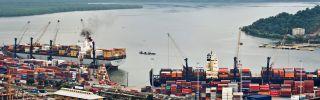 The port of Santos in Brazil.