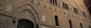 The headquarters of the Banca Monte dei Paschi di Siena banking company in Siena, Italy.