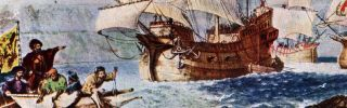 A print of the explorer Ferdinand Magellan (1480 - 1521) discovering the path to the Pacific, Circa 1520.