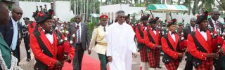 To effectively fight the endemic corruption in his country, Nigerian President Muhammadu Buhari (C) will have to overcome political opposition from the entrenched interests that profit from it.