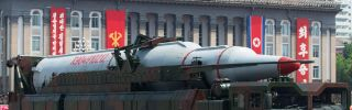A North Korean Taepodong-class missile is displayed during a military parade marking the 60th anniversary of the Korean war armistice in Pyongyang on July 27, 2013.