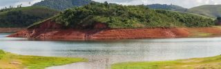 A general view shows the Jaguari Dam, one of the main reservoirs supplying Sao Paulo, Brazil, with its water level to 12 percent of its total capacity on April 25.