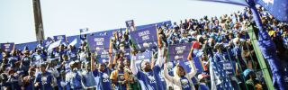 Supporters of South Africa's Democratic Alliance opposition party cheer at a rally in Soweto on July 30. The party recently defeated the ruling African National Congress in Johannesburg's mayoral race.