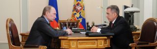 Russian President Vladimir Putin (L) can respond one of two ways to criticism from Rustam Minnikhanov, the leader of Tatarstan: Offer the republic financial concessions or purge the popular outspoken critic of his administration.