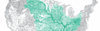 A map of the waterways in the Mississippi River Basin, derived from geographic information systems (GIS) technology.