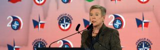 This photo shows Rose Gottemoeller, deputy secretary-general of NATO, delivering a speech in Prague, Czech Republic, on the occasion of the 20th anniversary of the military alliance's eastward expansion.