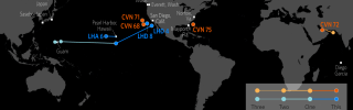 This map shows the approximate current locations of U.S. Carrier Strike Groups (CSGs) and Amphibious Ready Groups (ARGs), based on available open-source information.