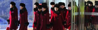 A delegation of North Korean supporters arrives in South Korea for the Olympics on Feb. 7, 2018.