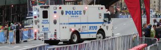 An NYPD Bomb Squad truck patrols during the New York Marathon in Manhattan, New York City, New York, November 5, 2017.