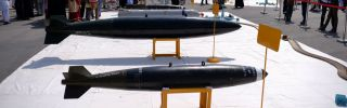 The Pakistani military displays some of its missiles at the Nur Khan air base on Sept. 6, 2017.