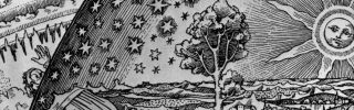 An illustration from a sixteenth-century German book on the cosmos depicts an old man penetrating the earth's firmament to see the workings of the universe beyond, circa 1550.