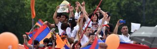Supporters of Armenian Nikol Pashinian celebrate in Yerevan's Republic Square on May 8, 2018. Pashinian would go on to become prime minister.