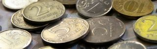Russian ruble coins are seen in this photo illustration.