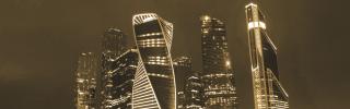 Moscow's skyline gleams against the night sky.