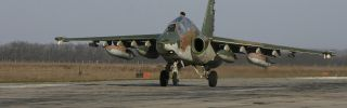 A Russian Su-25 ground attack aircraft lands at an airbase in Russia's Krasnodar region as part of Russia's withdrawal of armed forces from Syria.
