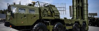 Russia's S-400 air defense system stands on display in Kubinka Park near Moscow.