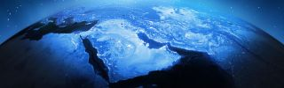 This stylized image with elements from NASA shows the Middle East from space.